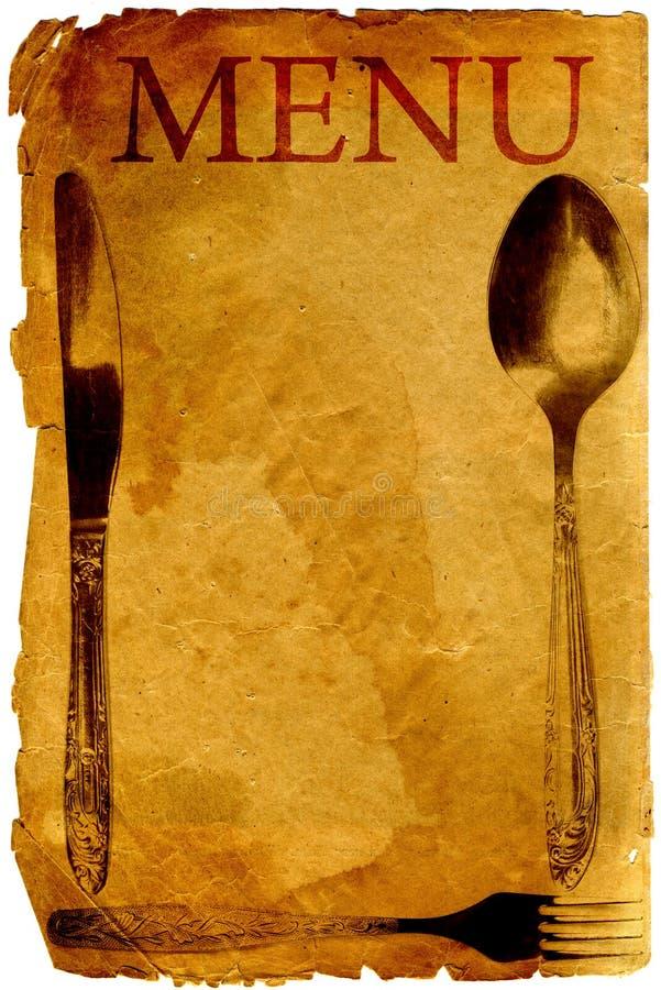 Menú de la vendimia con la cuchara, la fork y el cuchillo stock de ilustración