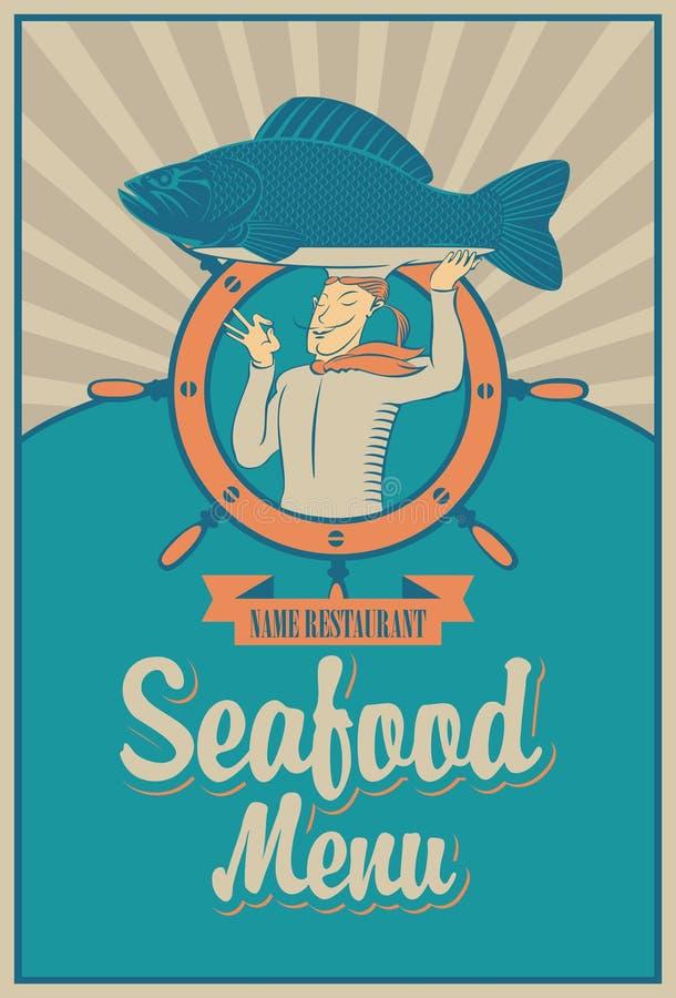 Menú de los mariscos stock de ilustración