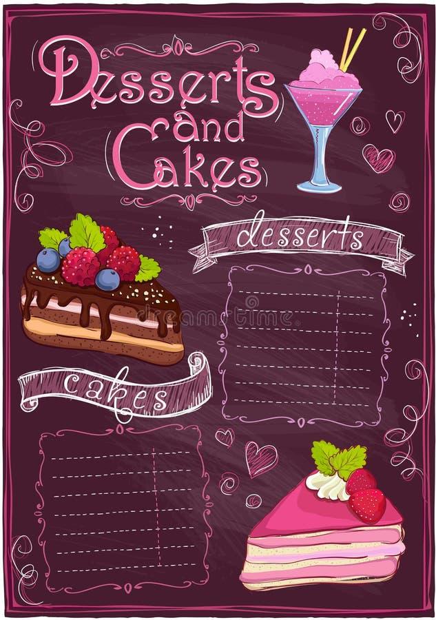 Menú de los postres y de las tortas de la pizarra. ilustración del vector