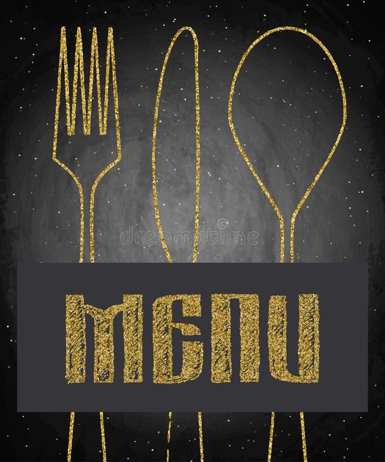 Menú de oro del restaurante en fondo negro de la pizarra libre illustration