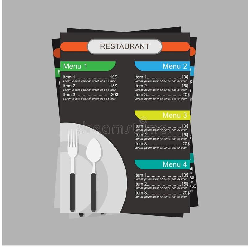 Menú de Resturant con la plantilla plana del diseño del ejemplo del concepto del vector de los cubiertos stock de ilustración