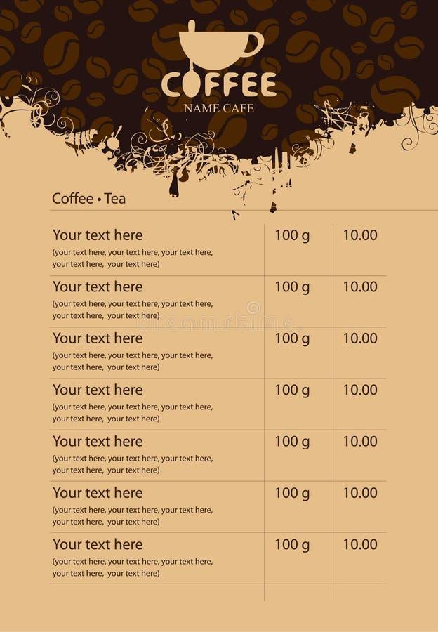 Menú del café stock de ilustración