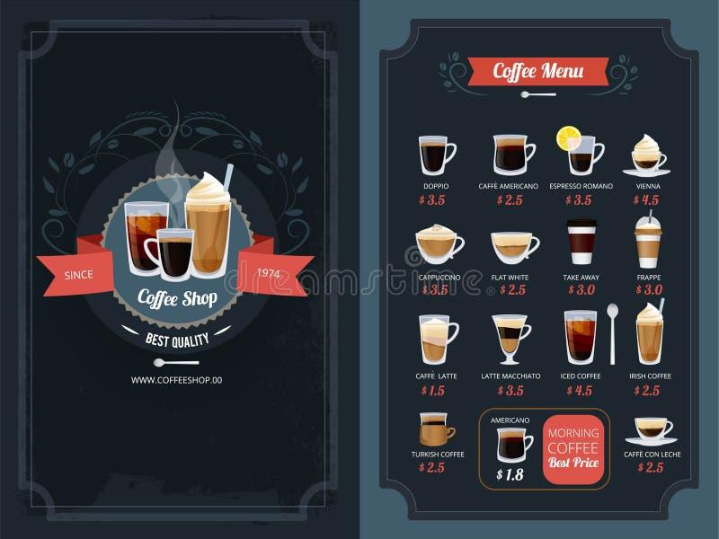 Menú del café con diversos tipos Capuchino, macchiato, latte y otros ilustración del vector