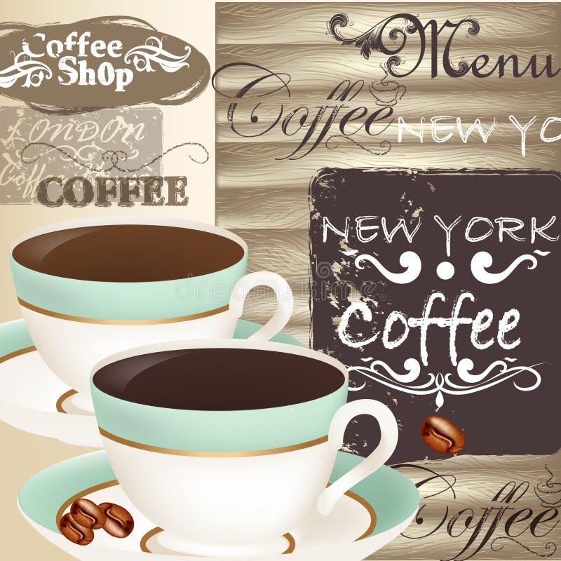 Menú del café con las tazas en de madera una textura ilustración del vector