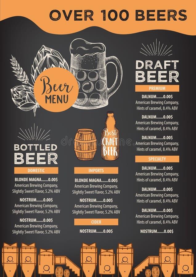 Menú del café del restaurante de la cerveza, diseño de la plantilla stock de ilustración