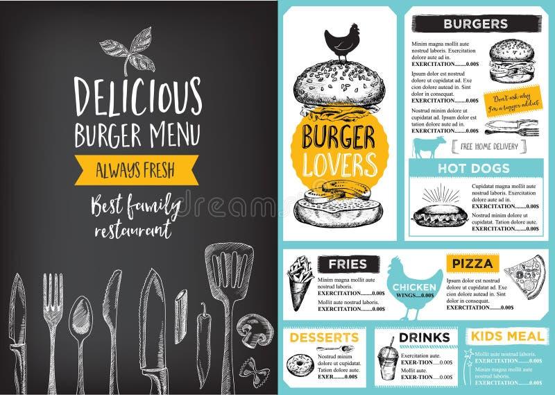 Menú del café del restaurante, diseño de la plantilla ilustración del vector