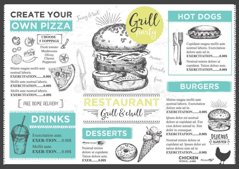 Menú del café del restaurante, diseño de la plantilla libre illustration