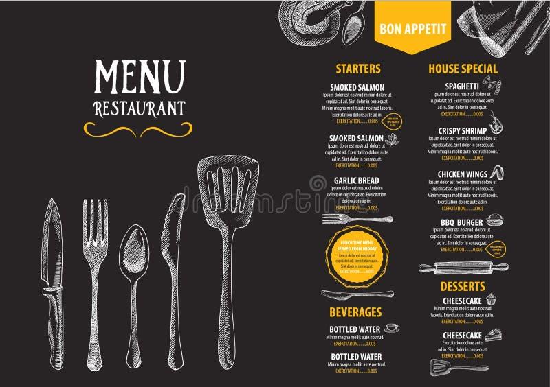 Menú del café del restaurante, diseño de la plantilla Aviador de la comida ilustración del vector
