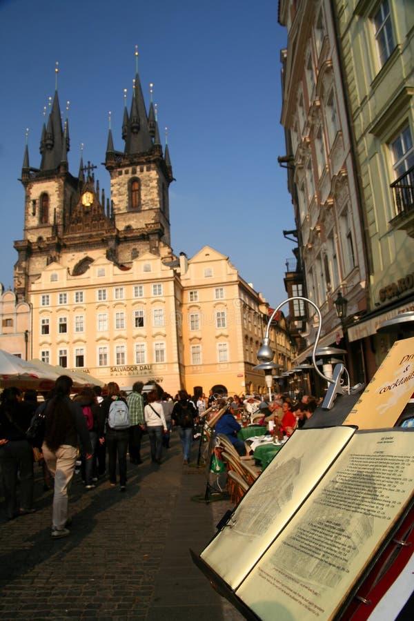 Menú del café en Praga fotos de archivo