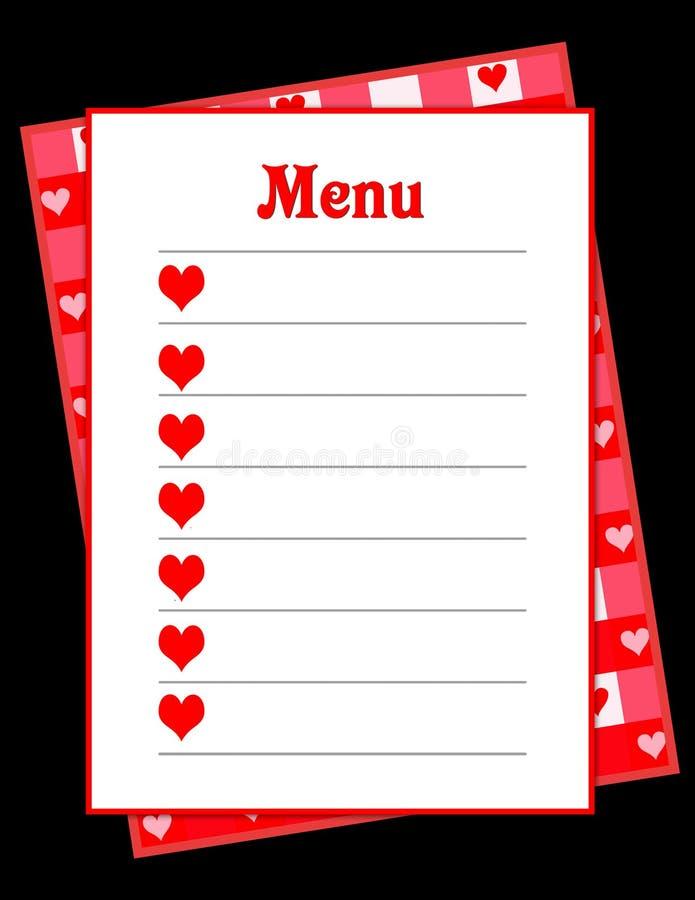 Menú del corazón stock de ilustración
