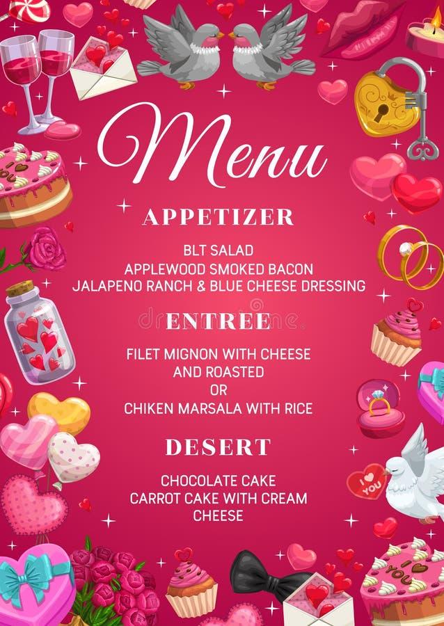 Menú del día de boda, comida y bebidas, muestras del matrimonio stock de ilustración