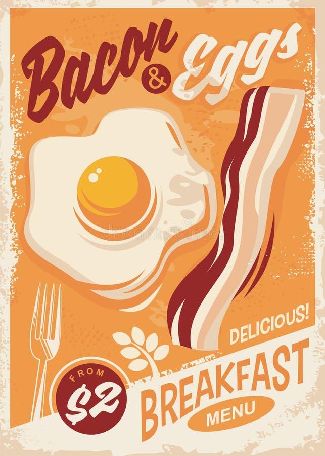 Menú del desayuno de tocino y de los huevos stock de ilustración