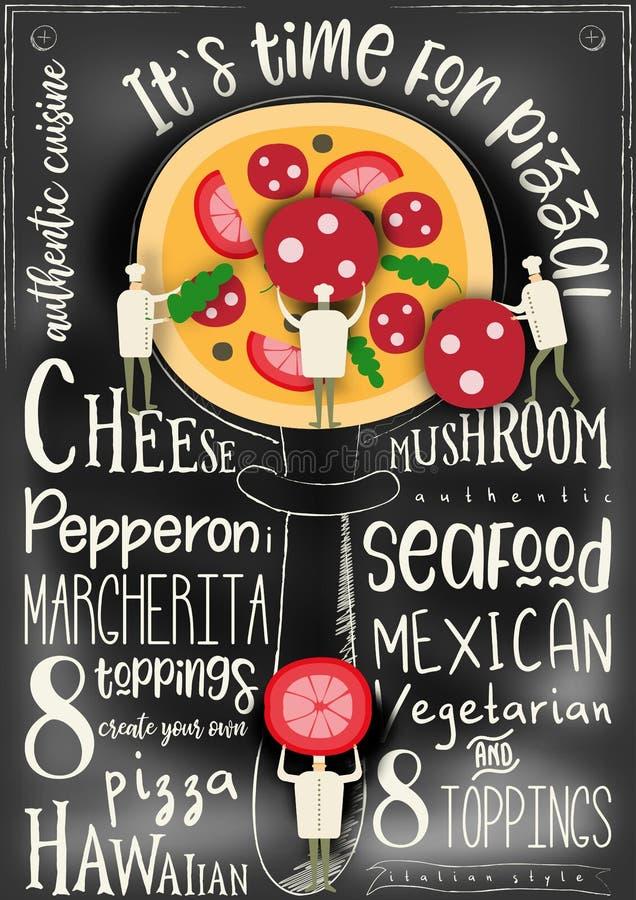 Menú del negro de la cubierta de la pizza ilustración del vector