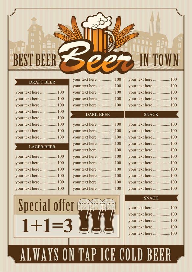 Menú del pub de la cerveza libre illustration