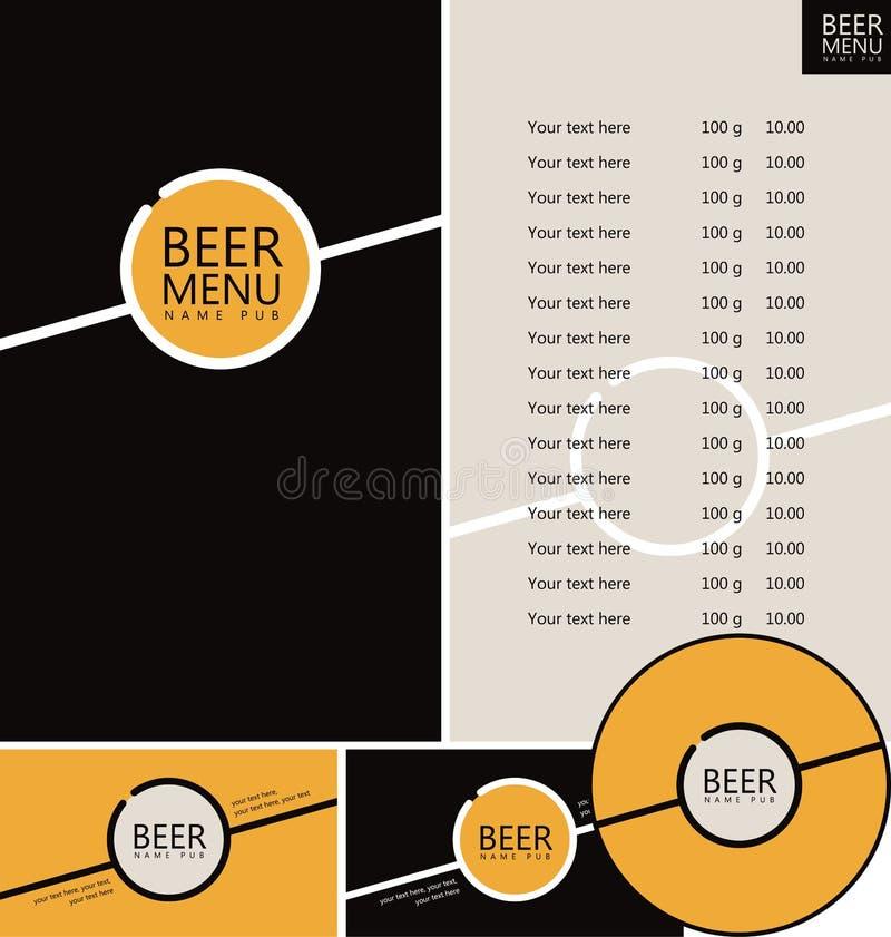 Menú del pub de la cerveza ilustración del vector