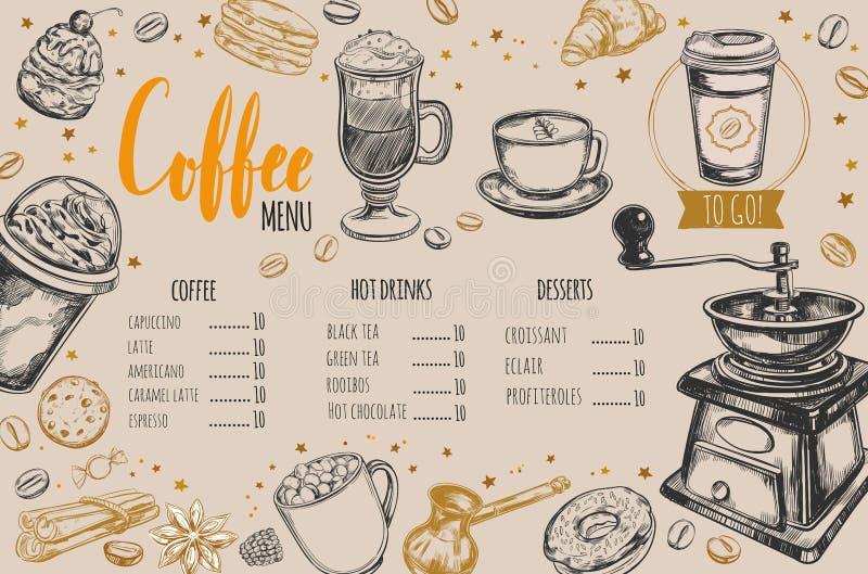 Menú del restaurante del café y de la panadería stock de ilustración