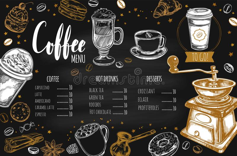 Menú 2 del restaurante del café y de la panadería ilustración del vector