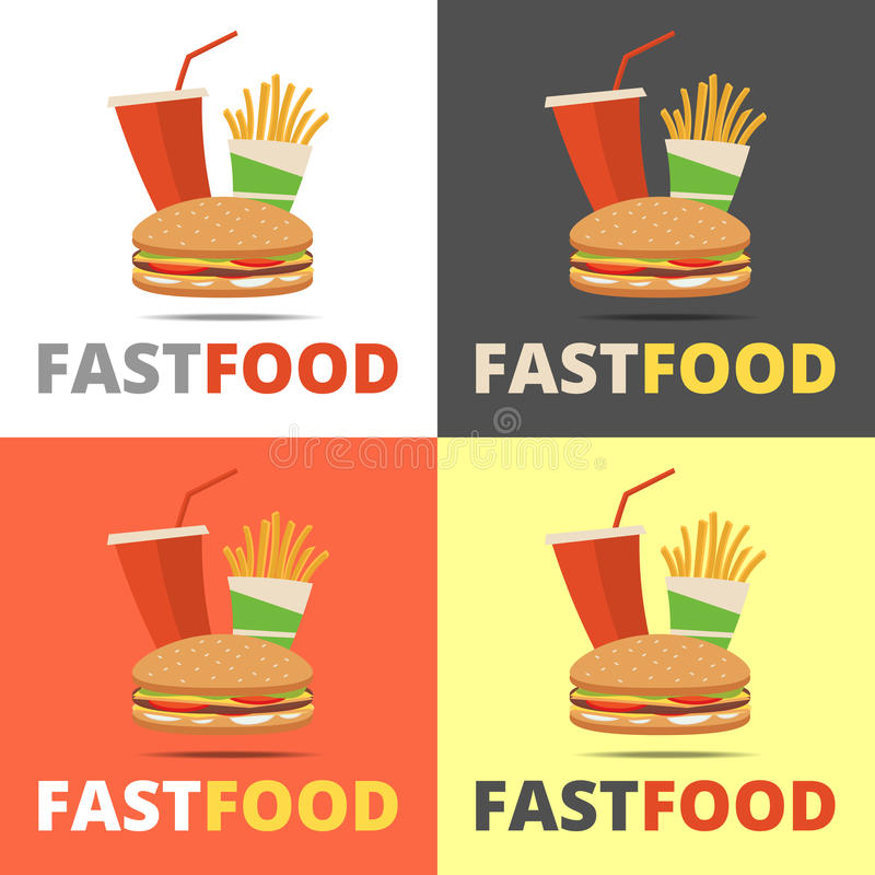 Menú del restaurante de los alimentos de preparación rápida stock de ilustración