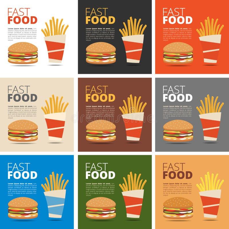 Menú del restaurante de los alimentos de preparación rápida ilustración del vector