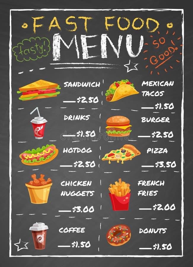 Menú del restaurante de los alimentos de preparación rápida en la pizarra stock de ilustración