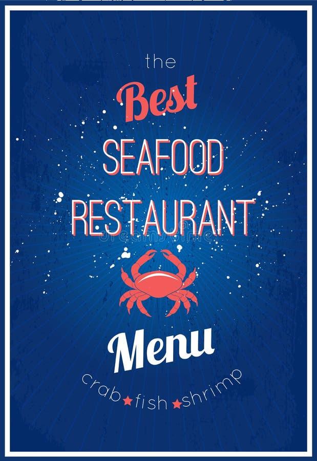 Menú del restaurante de los mariscos stock de ilustración