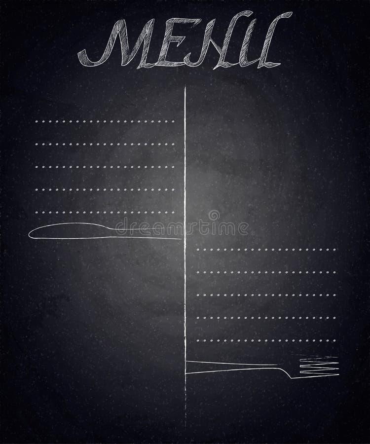 Menú del restaurante en fondo negro de la pizarra stock de ilustración