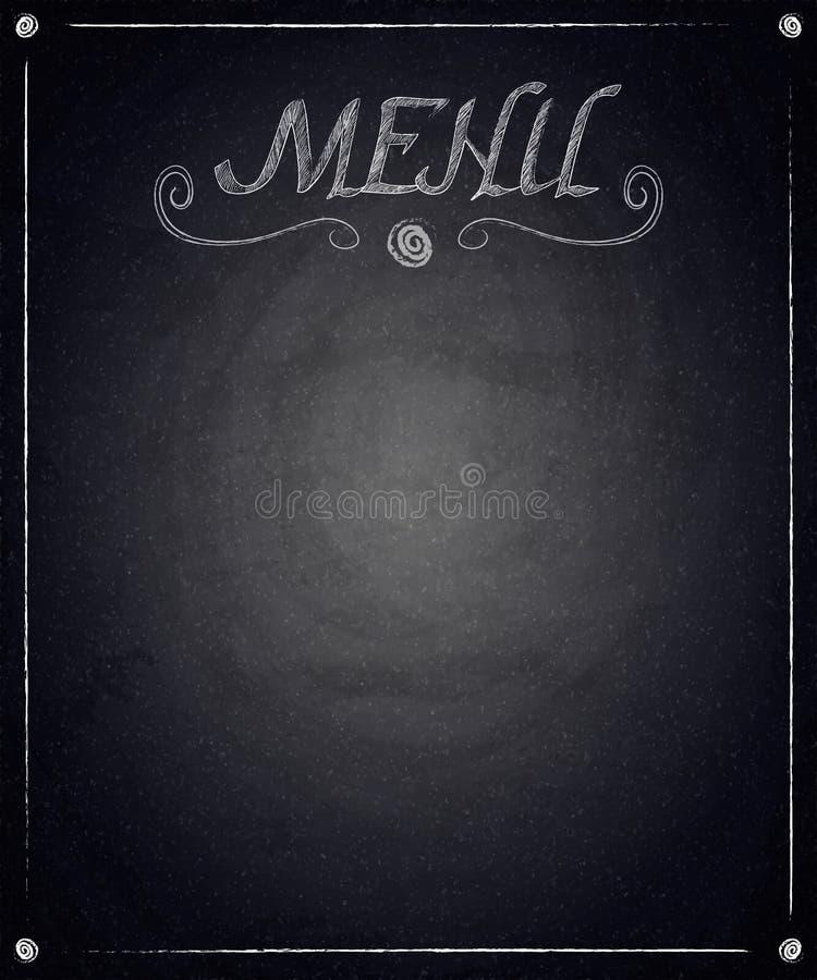 Menú del restaurante en fondo negro de la pizarra libre illustration