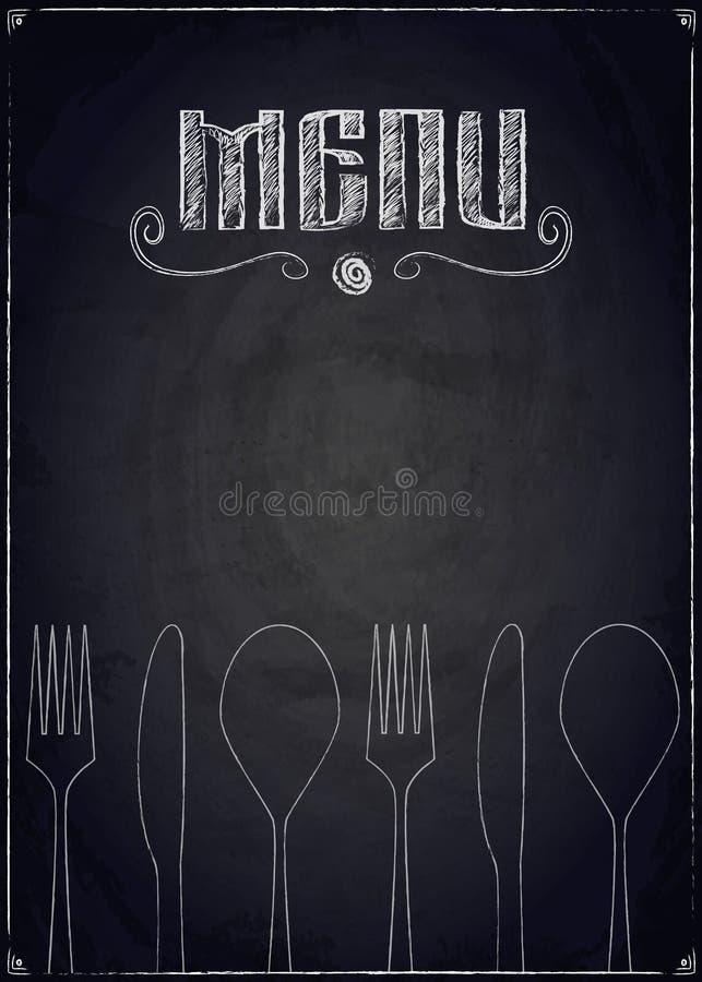 Menú del restaurante en fondo negro de la pizarra ilustración del vector