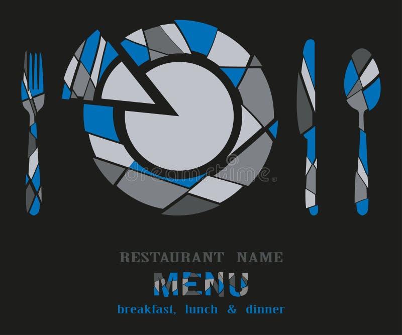 Menú del restaurante geométrico en fondo negro libre illustration