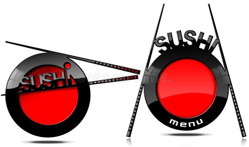 Menú del sushi - bandera con los palillos ilustración del vector