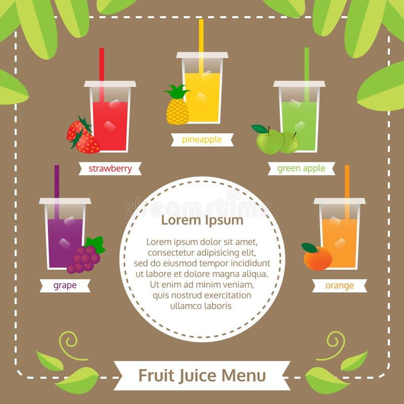 Menú del zumo de fruta imágenes de archivo libres de regalías