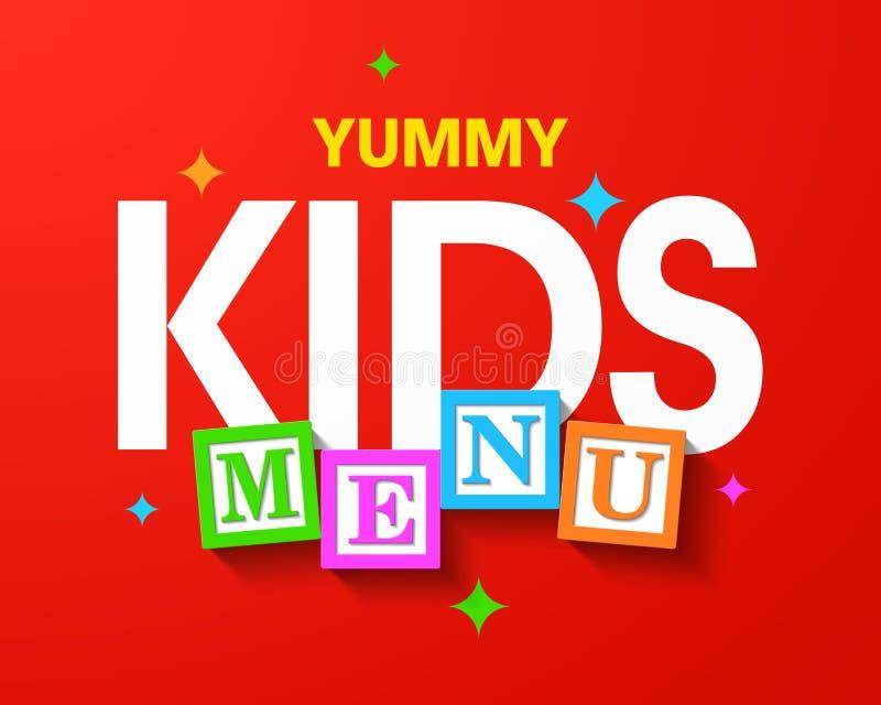 Menú delicioso de los niños stock de ilustración