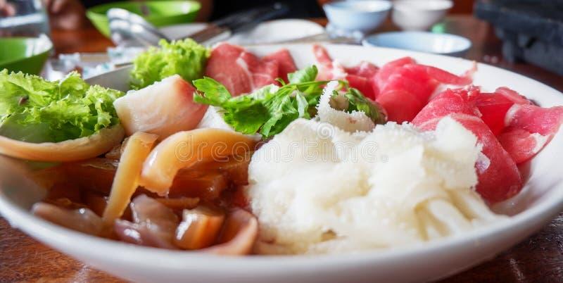Menú determinado de la carne de vaca de Sukiyaki, pote caliente, Shabu imagen de archivo