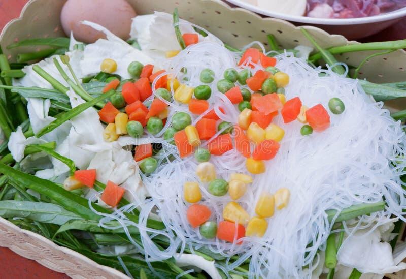 Menú determinado de la carne de vaca vegetal de Sukiyaki, pote caliente, Shabu fotos de archivo libres de regalías