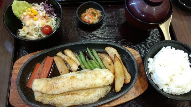 Menú determinado del japonés del filete de pescados del carro y de la ensalada de las verduras foto de archivo libre de regalías