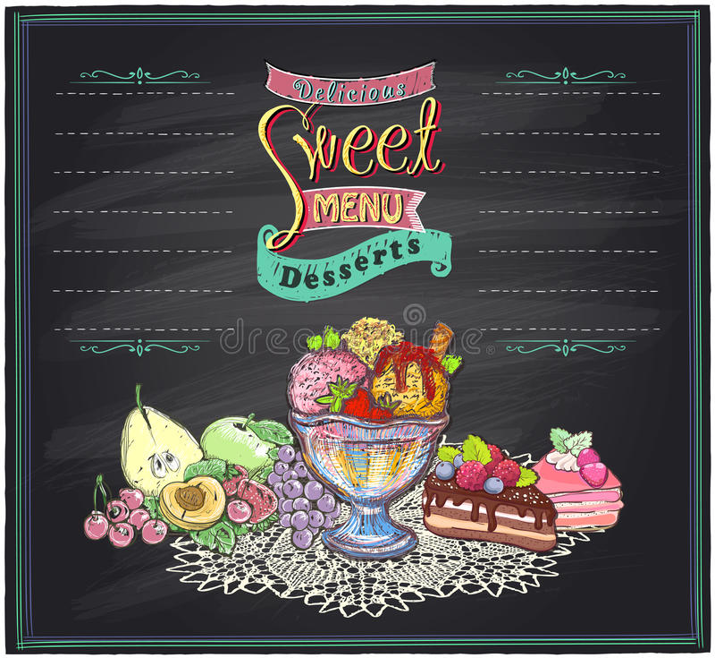 Menú dulce delicioso de la pizarra libre illustration