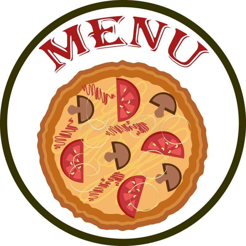 Menú en blanco con la pizza fotografía de archivo