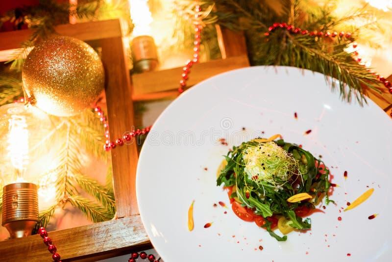 Menú festivo vegetariano de la Navidad de la cena fotos de archivo