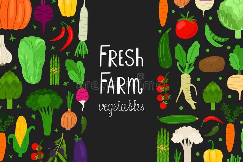 Menú fresco, plantilla del vector de la bandera de las verduras Fondo de la comida del vegano stock de ilustración