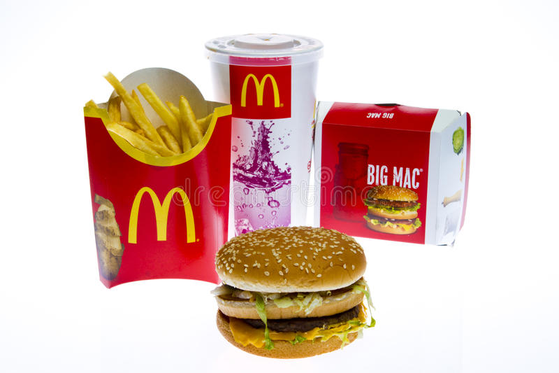 Menú grande del mac de McDonald's imagenes de archivo