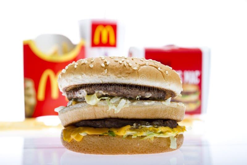 Menú grande del mac de McDonald's imagen de archivo