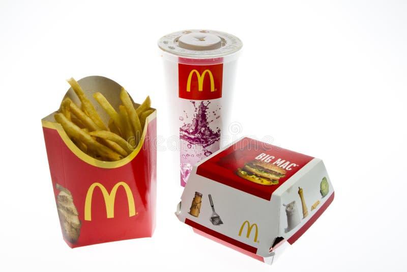 Menú grande del mac de McDonalds fotografía de archivo