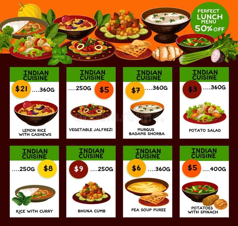 Menú indio de la cocina con los platos nacionales libre illustration