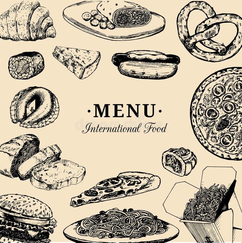 Menú internacional de la comida del vector Carta de la cocina de fusión Colección rápida dibujada mano de las comidas del vintage stock de ilustración