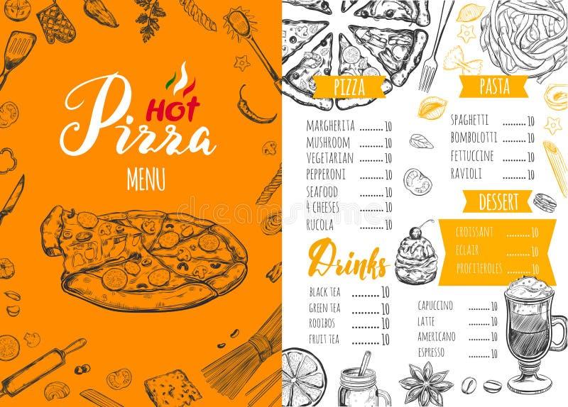 Menú italiano 5 de la comida ilustración del vector