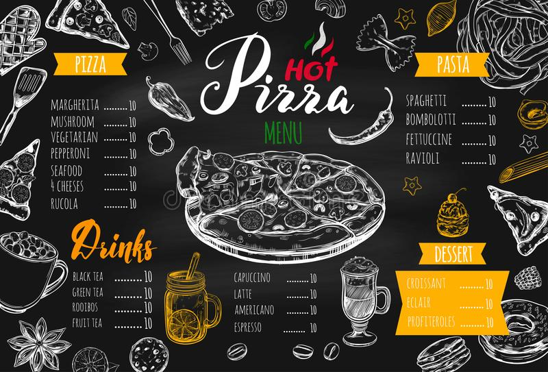 Menú italiano 3 de la comida libre illustration