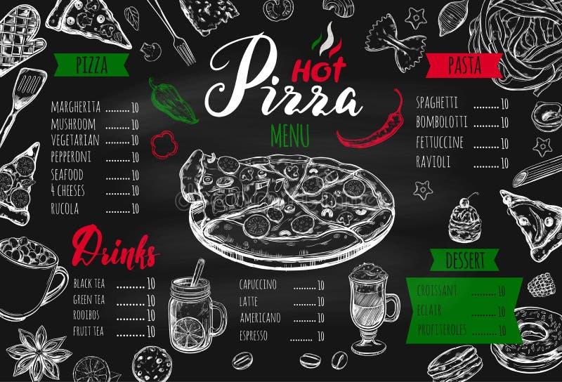 Menú italiano 2 de la comida ilustración del vector