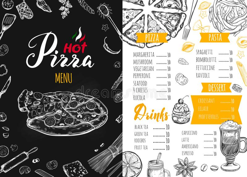 Menú italiano de la comida para el restaurante 3 ilustración del vector