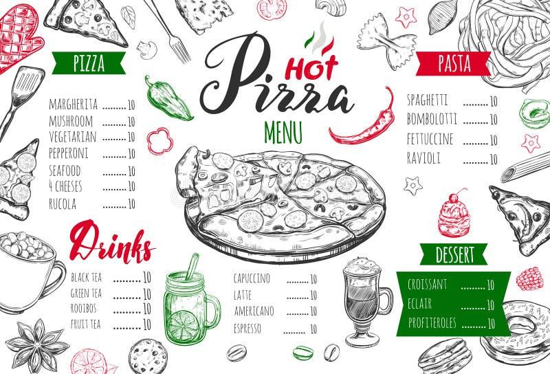 Menú italiano de la comida para el restaurante y el café stock de ilustración