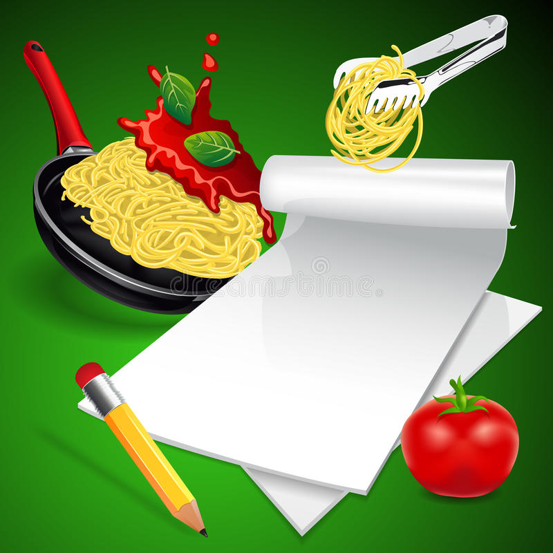 Menú italiano de las pastas ilustración del vector